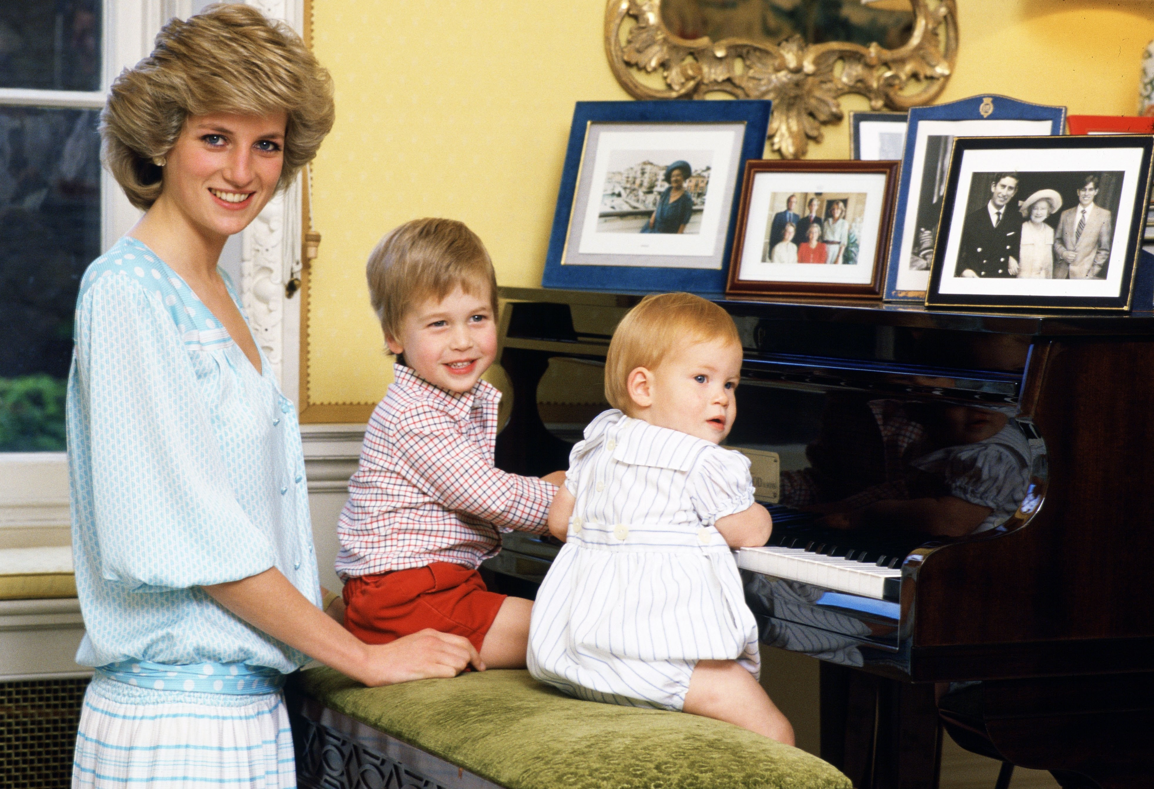 Princess Diana with Prince William and Prince Harry. Although this photo was taken in the 1980s, the outfits could have easily been worn during any era.