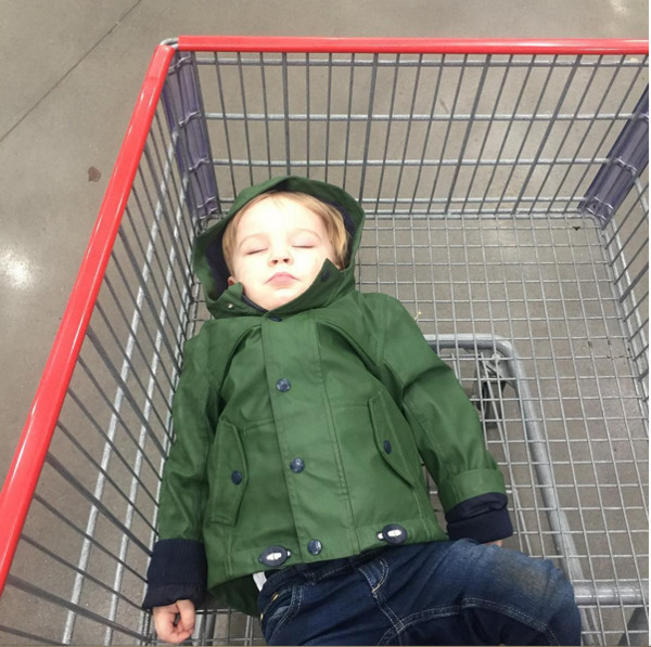 When you forget the stroller and have to use the cart for a nap
