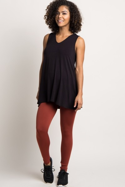 Rust Fleece Maternity Leggings Pregnancy And Postpartum Leggings You Ll Never Want To Take Off Mabel Moxie
